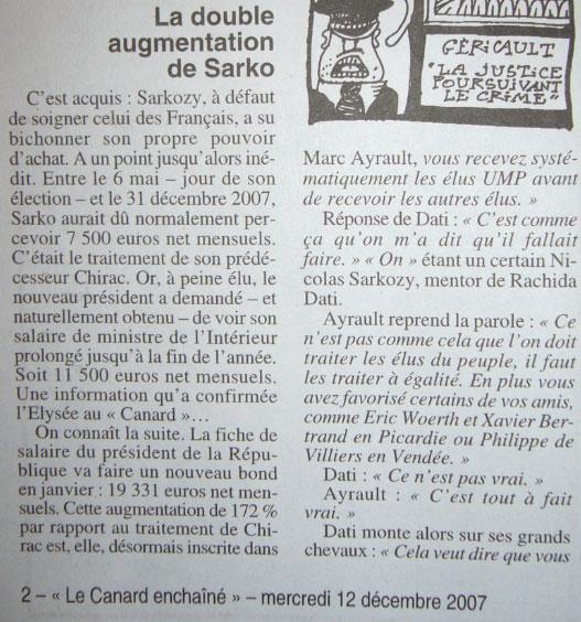 Canard Enchaîné : la double augmentation de Sarkozy